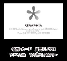 名刺・カード 片面モノクロ印刷 91×55mm 100枚:1,500円~