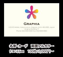 両面フルカラー印刷 91×55mm 100枚:3,000円~
