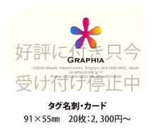 タグ名刺・カード印刷 91×55mm 20枚:2,300円~