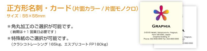 正方形名刺・カード(片面フルカラー/片面モノクロ)